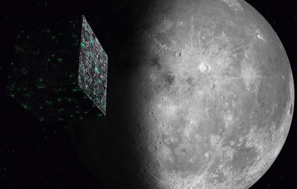Картинка космос, луна, space, moon, Star Trek, kosmos, Звёздный путь, Borg Cube, Куб Борг, Borg, Борг