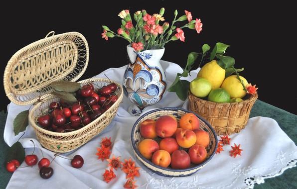 Картинка цветы, ваза, фрукты, натюрморт