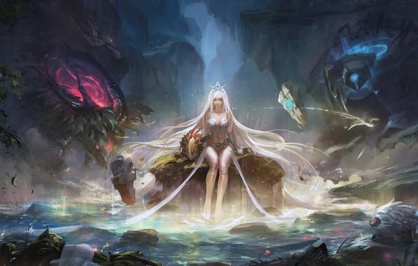 Картинка girl, rock, fantasy, game, forest, magic, long hair, water, lake, League of Legends, blonde, digital ...