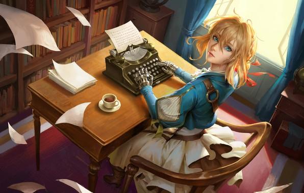 Картинка стол, комната, книги, окно, печатная машинка, кабинет, art, железная рука, красная ленточка, листы бумаги, Violet …