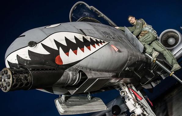 Картинка девушка, ночь, кабина, пилот, штурмовик, USAF, Republic, A-10 Thunderbolt II, противотанковый, Warthog, nose art, Kayla …