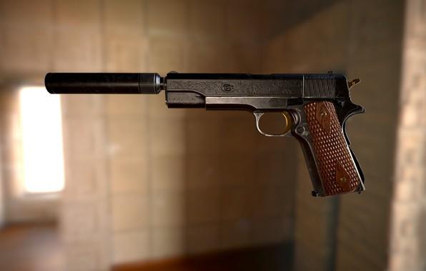 Картинка пистолет, оружие, арт, Najah Benothman, COLT 1911 - Project 1984