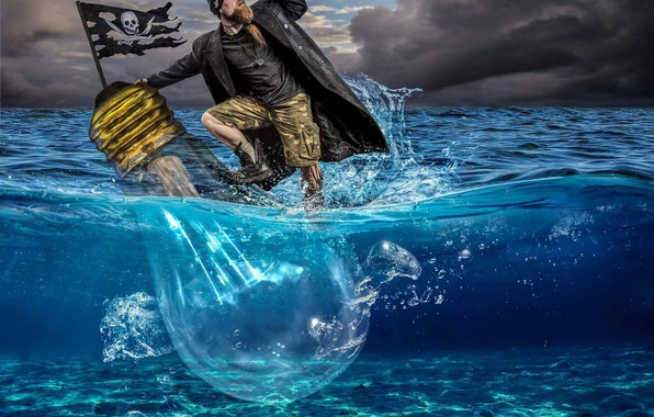 Картинка море, лампа, ситуация, флаг, пират, весёлый Роджер