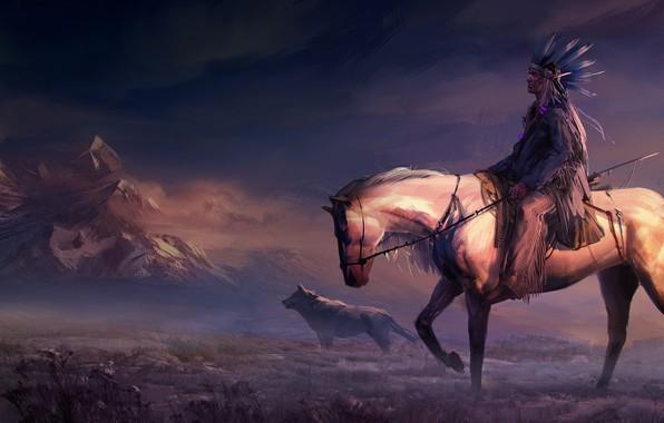Картинка field, animals, art, mountains, rider, horse, digital art, artwork, painting art, woles, Native American