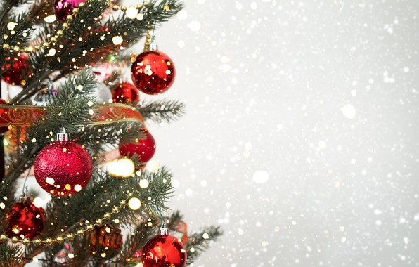 Картинка снег, украшения, шары, елка, Новый Год, Рождество, Christmas, balls, snow, New Year, decoration, xmas, Merry, …