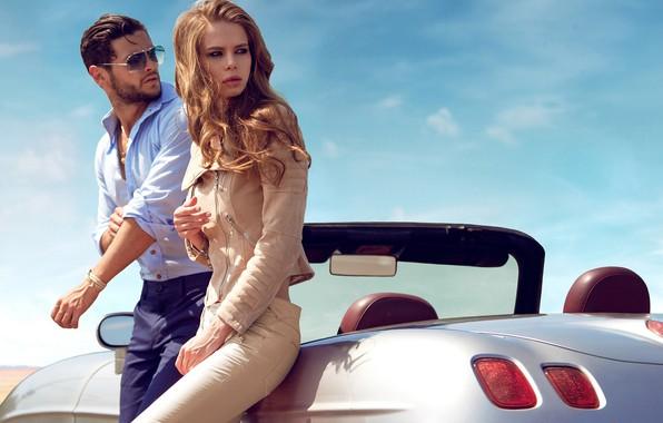 Картинка авто, взгляд, девушка, солнце, волосы, куртка, мужчина