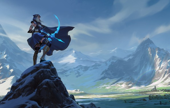 Картинка girl, fantasy, game, magic, landscape, nature, mountains, snow, village, League of Legends, digital art, bow, …