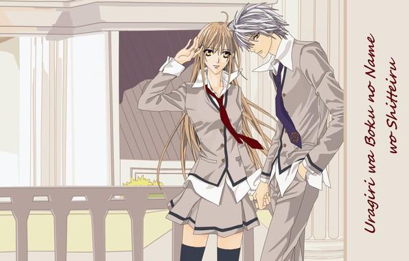 Картинка ограда, галстук, школьная форма, длинные волосы, art, студенты, Tsukumo Murasame, Touko Murasame, hotaru odagiri, uragiri …