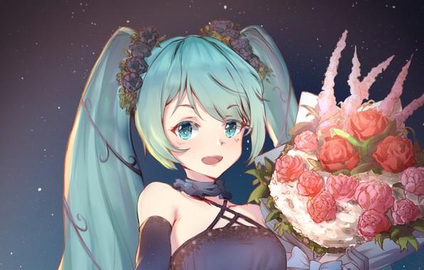 Картинка цветы, улыбка, букет, девочка, Hatsune Miku, Vocaloid, Вокалоид, Хатсуне Мику