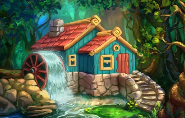 Картинка лес, рисунок, арт, домик, детская, Svetlana Antonova, Домик в лесу