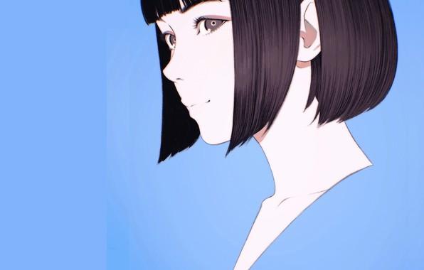 Картинка лицо, стрижка, голубой фон, чёлка, портрет девушки, Илья Кувшинов