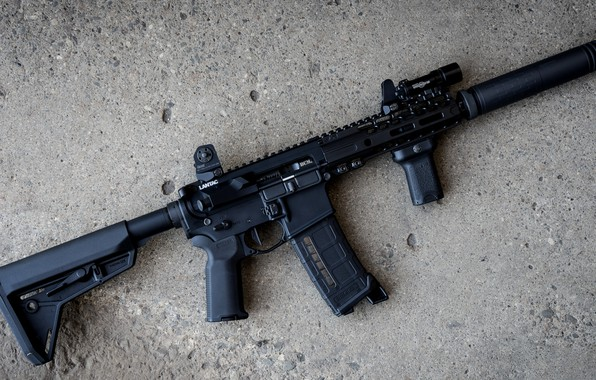 Картинка оружие, винтовка, weapon, глушитель, custom, м16, ar-15, assault rifle, m16, assault Rifle, ар-15, silenser, ар …