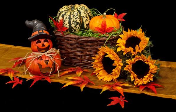 Картинка подсолнухи, тыква, Хэллоуин, 31 октября, крзинка, 2019