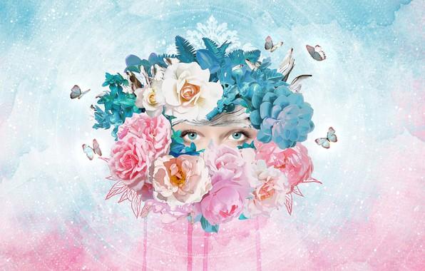 Картинка глаза, взгляд, цветы, флора