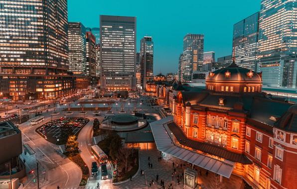 Картинка огни, вечер, Япония, Токио, мегаполис