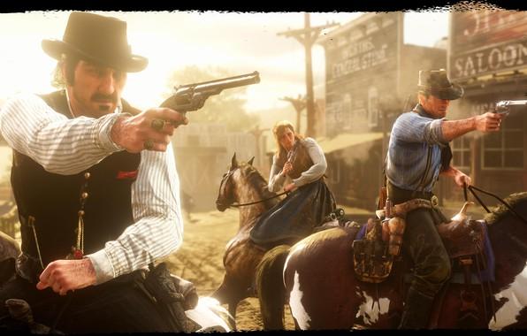 Картинка шляпа, лошади, банда, револьвер, Rockstar, Бандит, Red Dead Redemption 2, Arthur Morgan