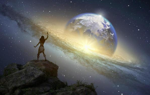 Картинка космос, звезды, пространство, волшебство, планета, earth, Земля, галактика, space, magic, stars, planet, galaxy, fantasy art, …