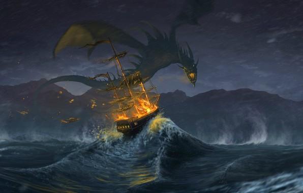 Картинка waves, fire, fantasy, storm, Dragon, rain, horns, sea, wings, artwork, fantasy art, creature, sailing ship