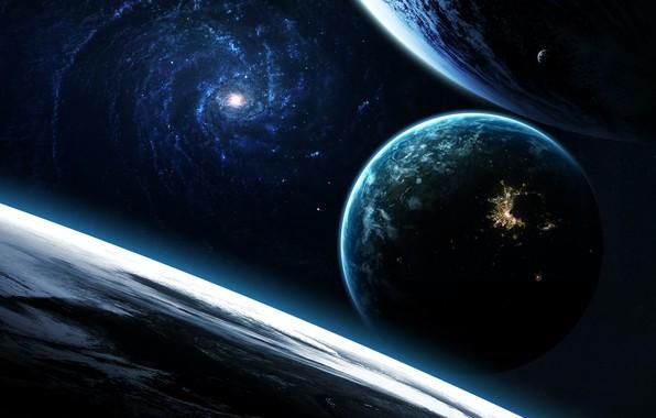 Картинка Звезды, Планета, Космос, Свет, Планеты, Light, Planets, Арт, Млечный Путь, Stars, Space, Art, Спутник, Planet, …