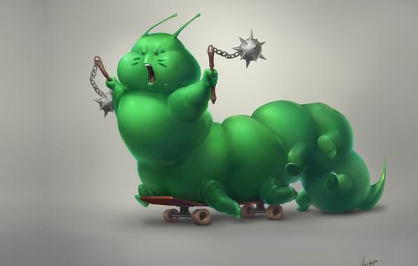 Картинка малыш, арт, скейтборд, Anna Anikeyka, Caterpillar-warrior, фэнтеЗи