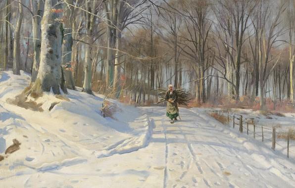 Картинка 1932, датский живописец, Петер Мёрк Мёнстед, Peder Mørk Mønsted, Danish realist painter, Зимний день в …