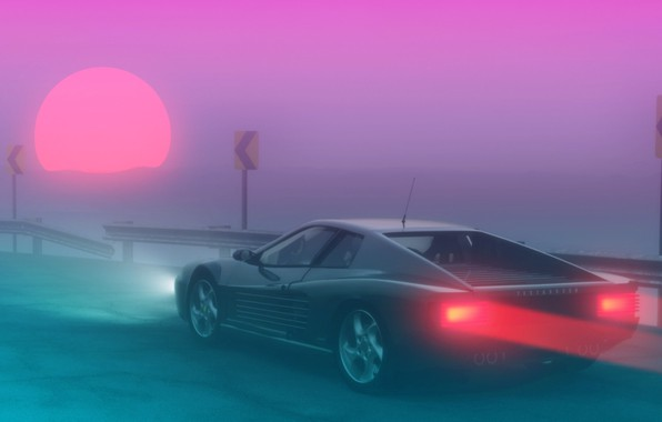 Картинка Солнце, Туман, Ferrari, 80s, Neon, Summer, Fog, 80's, Synth, Retrowave, Synthwave, Ferrari Testarossa, New Retro …