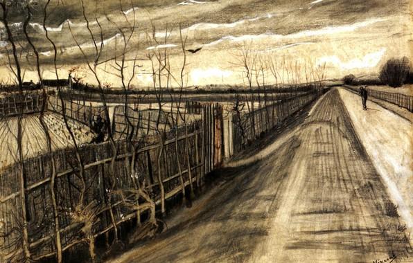 Картинка дорога, улица, человек, Vincent van Gogh, идущий, Country Road, участки