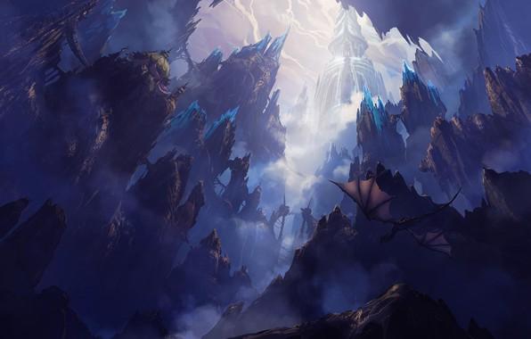 Картинка полет, пейзаж, скалы, дракон, фэнтези, арт