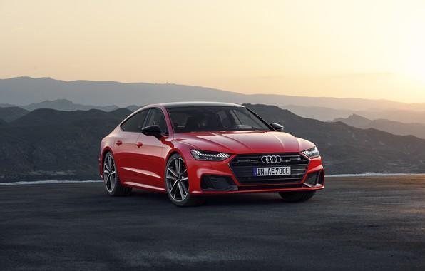 Картинка закат, вечер, седан, Sportback, Audi A7, 2019