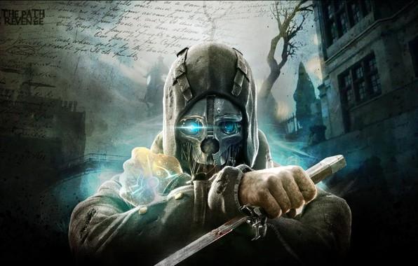 Картинка city, город, улица, игра, маска, арт, клинок, action, Dishonored, Arkane Studios, стелс-экшен, лорд-защитник Корво Аттано