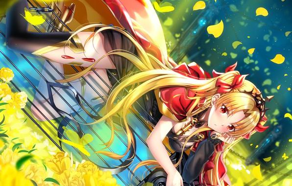 Картинка девушка, цветы, лепестки, Fate / Grand Order, Судьба великая кампания