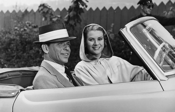 Картинка актеры, автомобиль, Grace Kelly, Frank Sinatra, Фрэнк Синатра, Грейс Келли