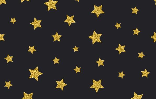 Картинка звезды, золото, golden, черный фон, black, background, stars