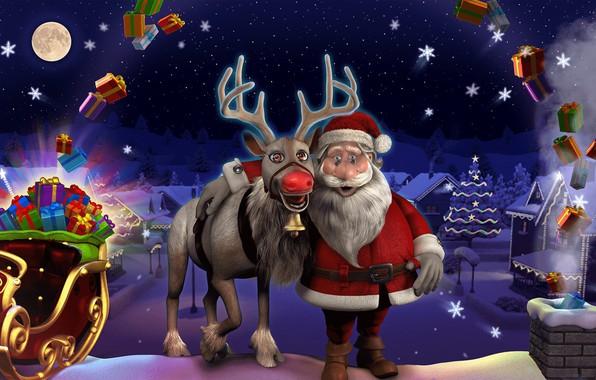 Картинка зима, огни, праздник, олень, арт, Новый год, сани, Санта Клаус, Merry Christmas, Ziv Tsadik