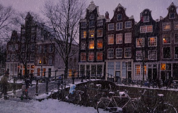 Картинка зима, снег, деревья, пейзаж, мост, огни, река, люди, дождь, улица, зимний, вид, окна, здания, дома, …