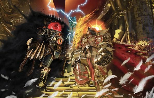 Картинка Horus Heresy, battle, Warhammer 40 000, Emperor of Mankind, Horus, artbook, traitor, primarch