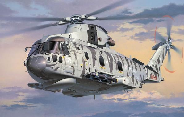 Картинка AgustaWestland, AW101, Merlin, Противолодочный вертолёт, European Helicopter Industries, Королевский ВМФ, EH101, Sting Ray torpedo