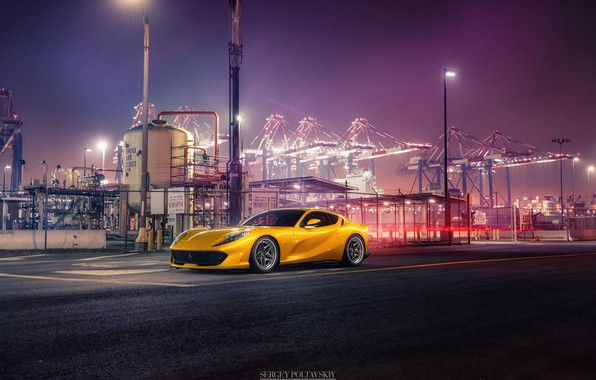 Картинка Авто, Порт, Ночь, Желтый, Машина, Ferrari, Car, Автомобиль, Render, Суперкар, Рендеринг, Спорткар, Терминал, Желтый цвет, …