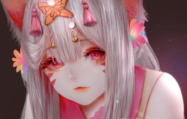 Картинка лицо, причёска, красные глаза, кошачьи ушки, neko girl, by Aoi Ogata