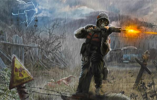 Картинка Stalker, Art, Rain, Soldier