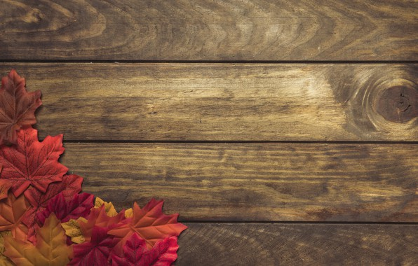 Картинка осень, листья, фон, дерево, colorful, доска, wood, background, autumn, leaves, осенние, maple