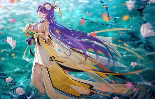 Картинка вода, девушка, цветы, вечер, Vocaloid, длинные волосы, TID