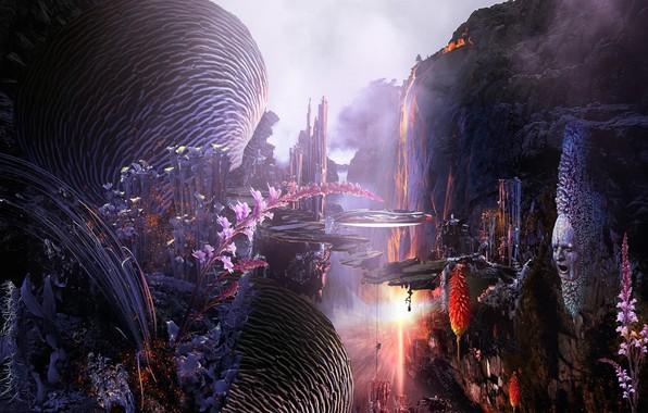 Картинка ночь, Растения, Темнота, иллюзии, Искусство фэнтези, Сюрреалистический, каменное лицо