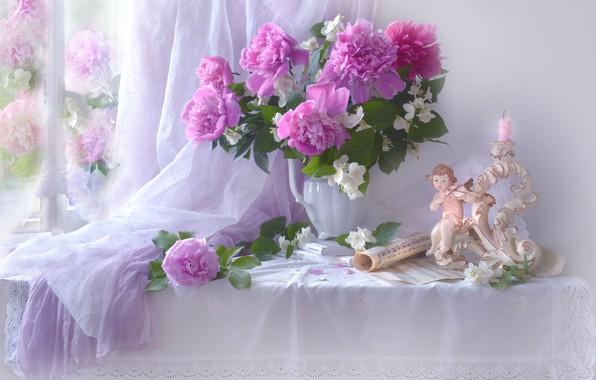 Картинка цветы, ветки, ноты, роза, книги, свеча, окно, девочка, кувшин, натюрморт, столик, фигурка, пионы, ткани, жасмин, …