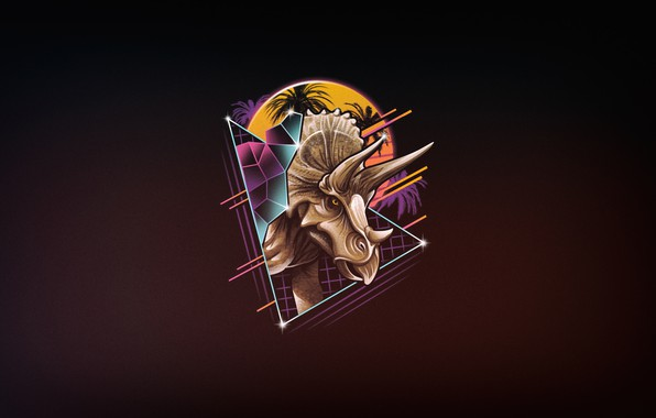 Картинка Минимализм, Рисунок, Динозавр, Арт, 80s, Neon, Triceratops, 80's, Synth, Retrowave, Rad, Трицератопс, Synthwave, New Retro ...