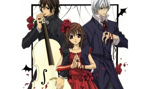 Картинка виолончель, красное платье, art, kuran kaname, vampire knight, yuuki cross, рыцарь-вампир, цветок в волосах, чистокровный, …