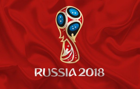 Картинка sport, logo, Russia, football, soccer, World Cup, FIFA, red background, FIFA World Cup, official logo, …