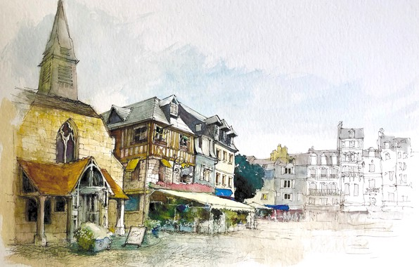 Картинка город, рисунок, Франция, дома, акварель, Онфлёр