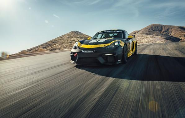 Картинка машина, солнце, горы, купе, скорость, Porsche, спортивная, Clubsport, 718, Cayman GT4