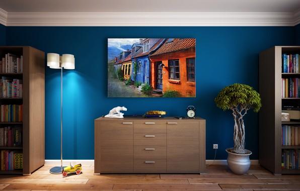 Картинка комната, игрушка, книги, интерьер, картина, горшок, машинка, деревце, комод, шкафы, 3D